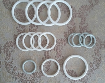 plastic macrame rings, 10 pcs 44mm 58mm 78mm round hoops, circle craft hoop ring for baby, white craft rings for Drape Curtain Tie Back