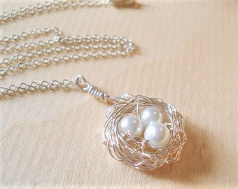 Bird Nest Necklace Mothers Day Necklace Silver Nest Necklace Gift for Mom Birdnest Jewelry Necklace Mom Child Necklace  Pearl Nest