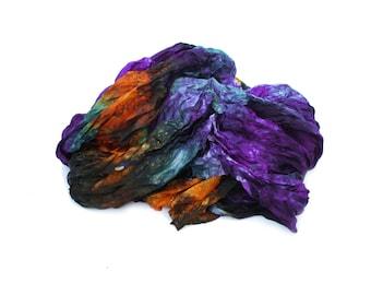 silk scarf - Irises - Van Gogh  -  purple, green, orange silk scarf.