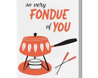 Letterpress Love Card, Funny, Fondue Pot, Mid Century, Punny Pun, Retro 60s, Red Black, Catherineholm lotus, LOG06