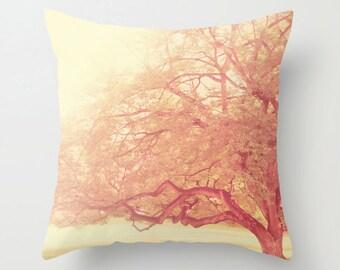 pink pillow, tree pillow cover, pink nursery decor, baby nursery pillow, girls room linens, bedroom pillow cover, botanical print