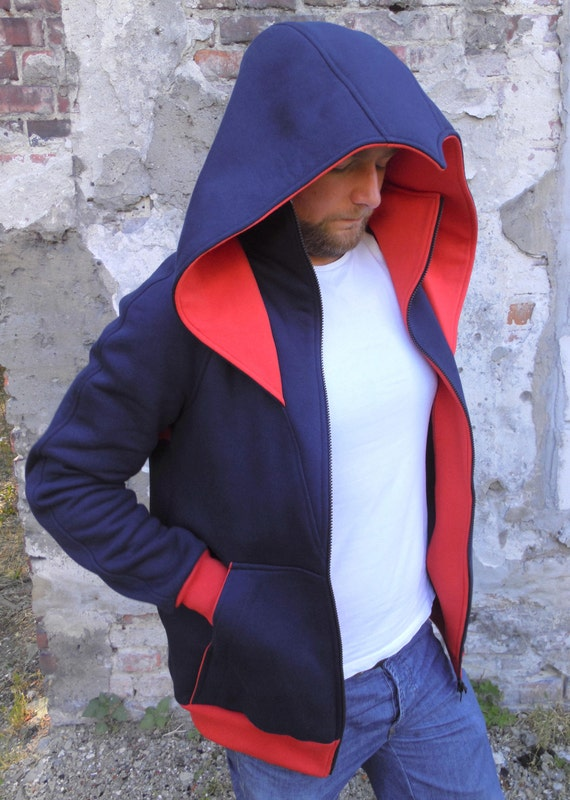 Unique Assassins Zip Hoodie by Wolvenstyle. Blue with red inserts. High quality fashion from Europe. 8ppjR