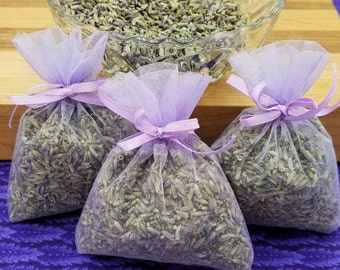 3 pack of French Lavender Sachets, great for wedding toss, wedding favors, baby showers, gift giving, drawers, closets, bug repellent