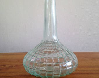 Plaid embossed glass jug - vintage