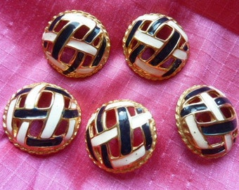 5 buttons chic blue white enameled metal * 30mm * before 2000