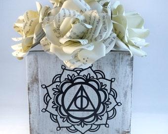 Harry Potter Decor - Deathly Hallows - Harry Potter Flowers - Wooden Vase - Desk Accessories - Pen holder for desk - Flower Centerpiece
