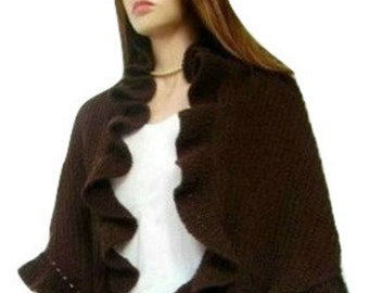 Chocolate Brown Wool Three Sides Ruffle Cute Shawl, Handknit, Kate Middleton, Express Delivery
