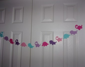 Dinosaur Garland Dark Purple, Hot Pink, Aqua Blue, Light Purple, Baby Pink Cardstock Paper Girl Baby Shower Birthday Party Decor
