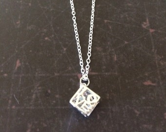 Love Sign - Love Necklace - Love Jewelry - Love Pendant - Cube Necklace - Word Necklace - Gift for Bride - Girlfriend Gift - Word Jewelry