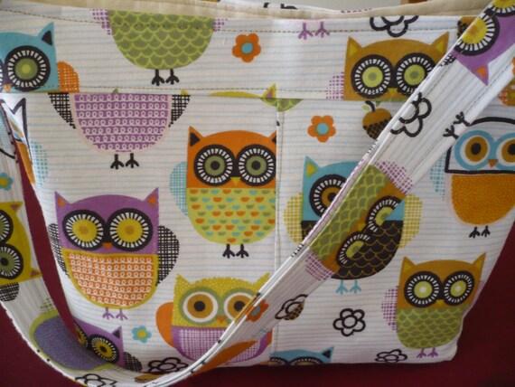 Got Owls? Bucket-Style Purse Diaper Bag