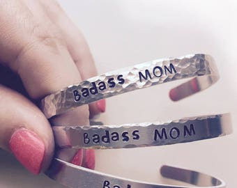 Badass Mom, Mother's Day Gift For Mom, Gift For Mom, Mom From Daughter, Gifts Under 10, Mom Gift, Mother's Bracelet, Unique Present