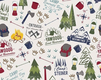 SALE Modern Scouting Main OffWhite by Riley Blake Designs - Boy Scouts Camping - Quilting Cotton Fabric - choose your cut