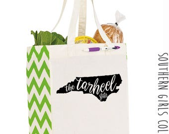 The Tarheel State North Carolina Cotton Market Tote Bag - Canvas Farmers Market Tote - Reusable Bag - Southern Girls Collection State design