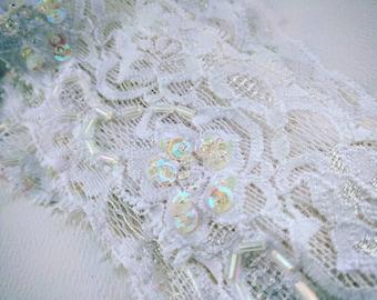 Elastic Hand Beaded Lace trimming - Wedding, Garter, Costume, Decorating Jars (price per metre)