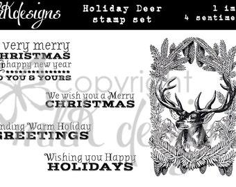 Holiday Deer Digital Stamp Set