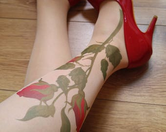 Tattoo Tights with Flowers, Pantyhose, Hand printed  Tights, S-XXL Sizes Available