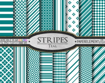 Teal Striped Digital Paper Pack - Instant Download - Stripes and Diamond Patterned Paper for Digital Scrapbooking
