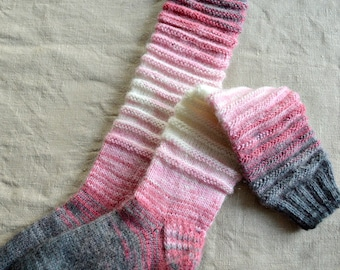 Long Boot Socks, Girl Clothes, Legwarmers Pink Grey White, Textured Knitting, Gift for Kids, Daughter Gifts, Knit Christmas Stocking