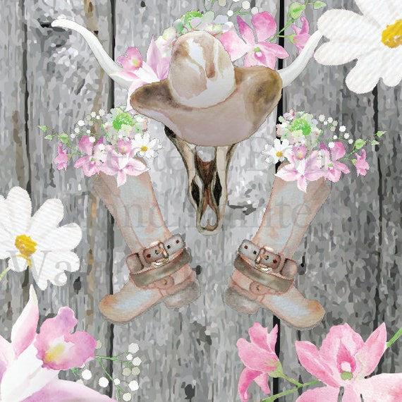 Favorite Watercolor Western Boho Cowgirl Boots boots belt longhorn clipart  KP93