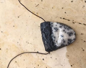 Raku pendant: white