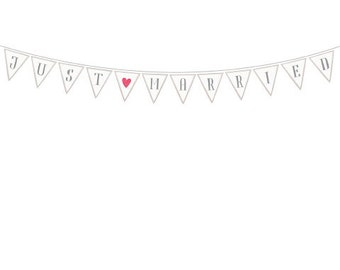 Just Married - Wedding Paper Garland