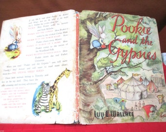 POOKIE and The Gypsies 1953 HCDJ Ivy L Wallace vintage collectable children's book with jacket