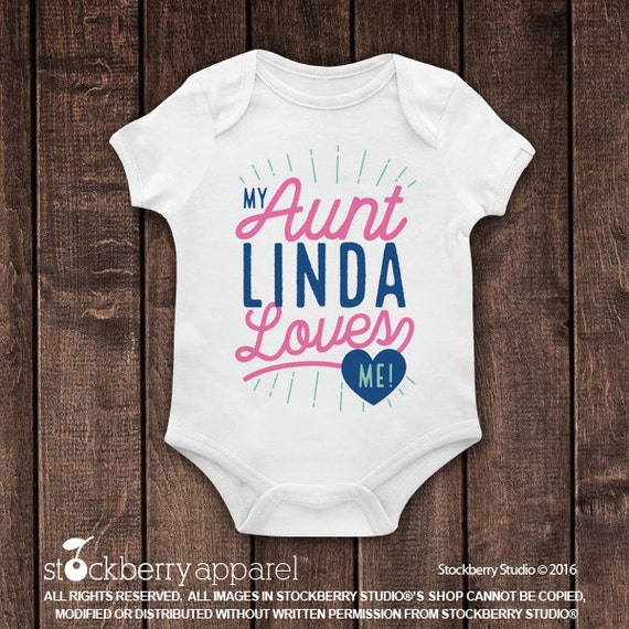 New baby clothing stockberry apparel my aunt loves me shirt my auntie loves me custom baby clothes personalized negle Image collections