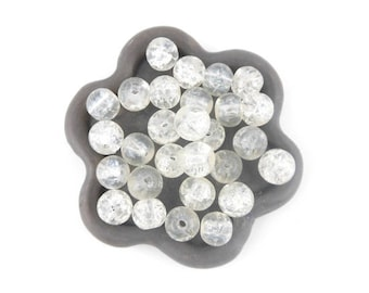 x 50 (05 c) white 6mm cracked glass bead