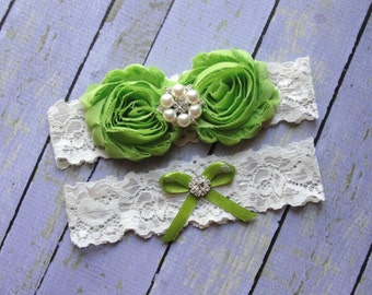 Green Wedding Garter, Garter Set, Bridal Garter, Keepsake Garter, Toss Garter, Apple Green Garter, Ivory Garter, Wedding Garter Belt