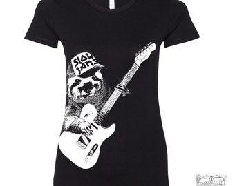 Womens SLOTH 3 (Slow Jams)  t-shirt -hand screen printed s m l xl xxl (+ Colors Available) custom custom