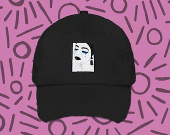 Dyani pop art modern contemporary pin ip all cried out sad girl Dad hat