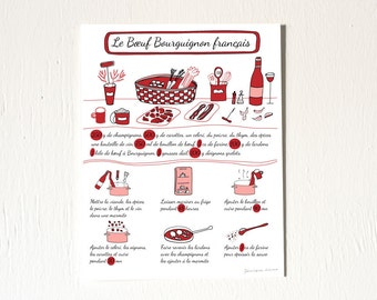 French Modern Kitchen 'Le Boeuf Bourguignon Francais'(Illustrated recipe in French) 8x10
