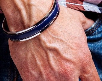 Mens Leather Bracelet Navy Blue Gift for dad Stitched leather bracelet Husband Gift Mens Stainless Steel Cuff Mens Gifts under 50