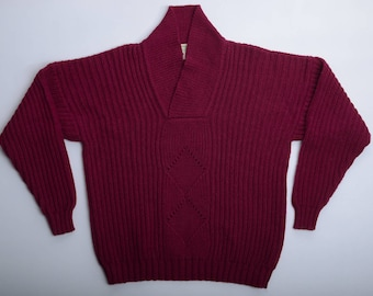 Vintage Shawl Collar Knit Sweater INISHOWEN , Donegal handloomed Ireland-made, Fisherman