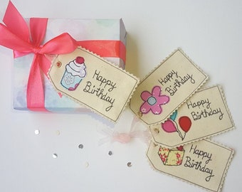 Birthday  free motion machine embroidery Gift Tags x3