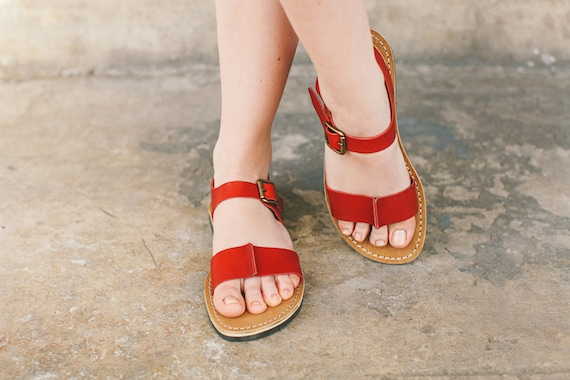 Strappy Sandals Sandals Red Flat Sandals Casual Sandals Sandals Shoes Ankle Leather Sandals Summer Strap Comfortable wqt6Bn
