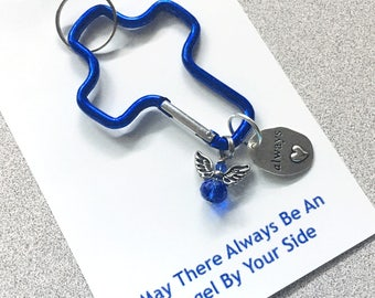 Cross keychain - Blue carabiner cross key chain with a Guardian Angel - always heart in your angel - Can clip  on to your purse or backpack