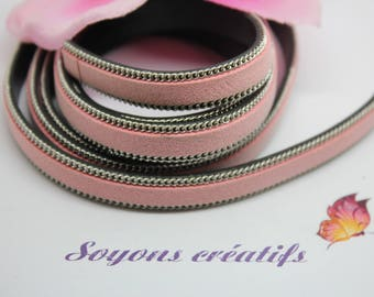 1 m strip of leather and pink 10mm - Creation jewels - P4305 Dai-