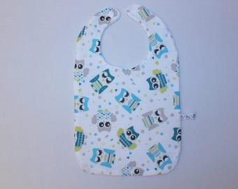 Blue grey OWL pattern baby bib