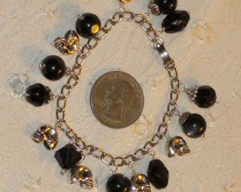 Black and Silver Skulls Artisan Goth Charm Bracelet