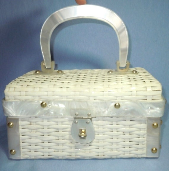 White Wicker and Lucite Basket Bag
