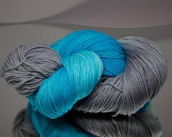 Hand dyed sock yarn - Smoke On The Water - Superwash Merino/Nylon blend 4-ply