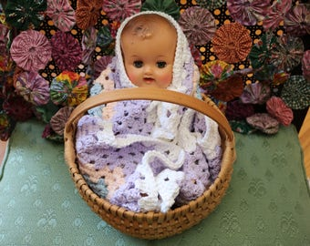 Crocheted Doll Blanket - in Pastels and White