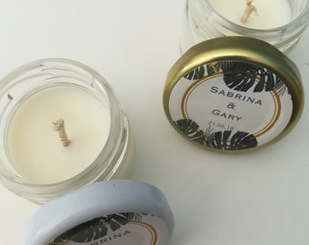 """""""Tropical"""" candles: Personalized wedding candles"""