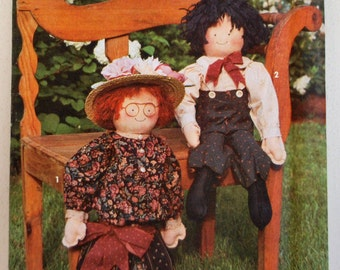 "Simplicity Crafts Pattern 8209 - Primitive Dolls and  Clothing, 24"" Tall"