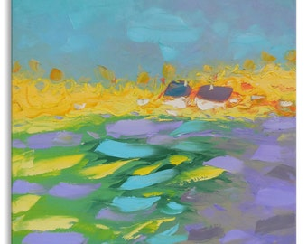Blueberry day - Impasto painting Bright artwork Intuitive art Expressive art Square artwork Pastoral painting Impressionistic Relax painting