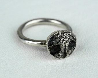Dog Nose Ring Sterling Silver Mini Dog Nose Print