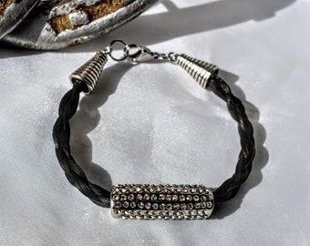 Silver charm with rhinestones braided horsehair bracelet