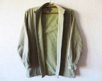 Beige Brown Plaid CHAMPION Work Shirt With Fleece Lining Warm Shirt Jacket Checkered Button Up Fishermans Lumberjack Size Medium