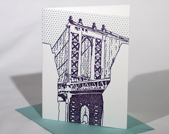 Brooklyn Letterpress Card | Manhattan Bridge | purple & teal single blank card with envelope